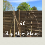 """""""hazel supports in our allotment-style garden"""""""